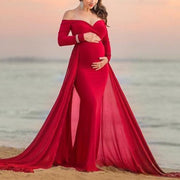 Maternity Elegant Long Sleeve Pure Colour Shoulder Dress