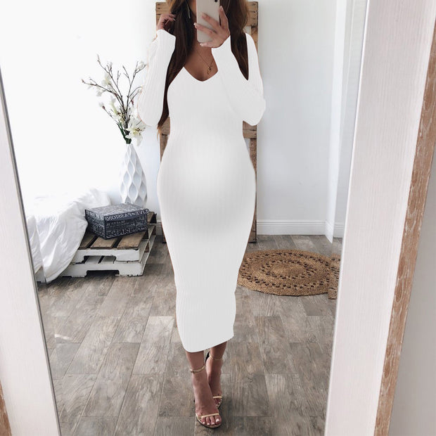 Maternity Sexy Crew Neck Long Sleeve Comfortable Striped Dress