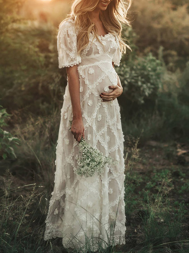 Maternity Casual Solid Color Lace Panel Short Sleeve Dress