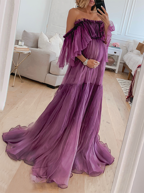 Maternity Fashion word collar long sleeve Pure Color Dress