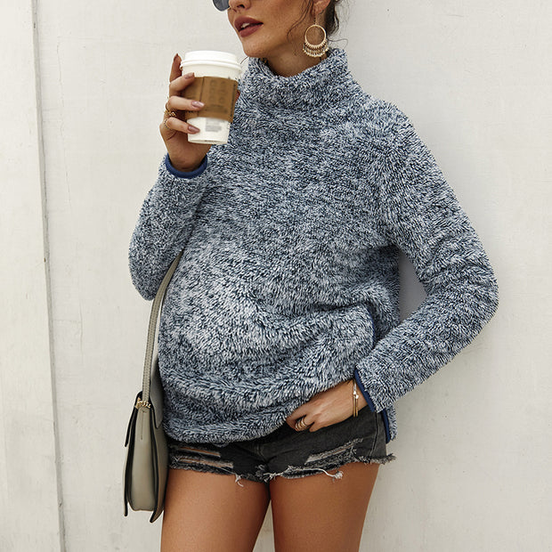 Maternity High Neck Pure Color Long Sleeve Top