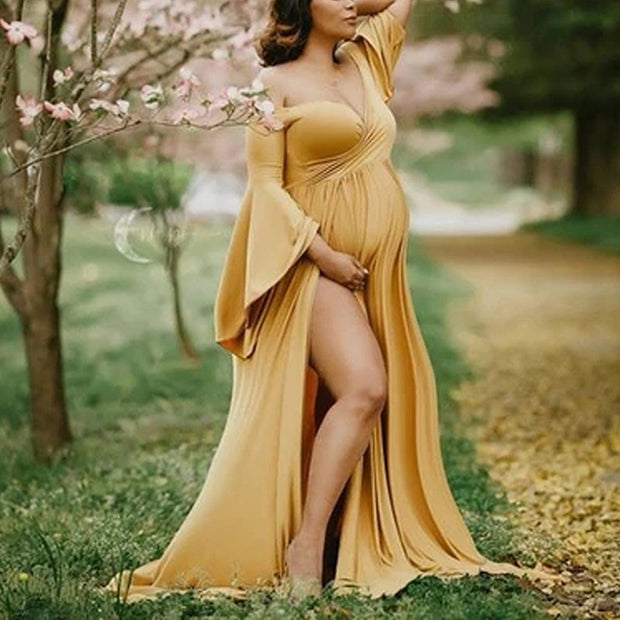 Maternity Sexy Off Shoulder Bell Sleeve High Slit Dress