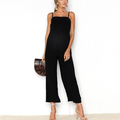 Maternity Strap Wrapped Chest Zipper Jumpsuit