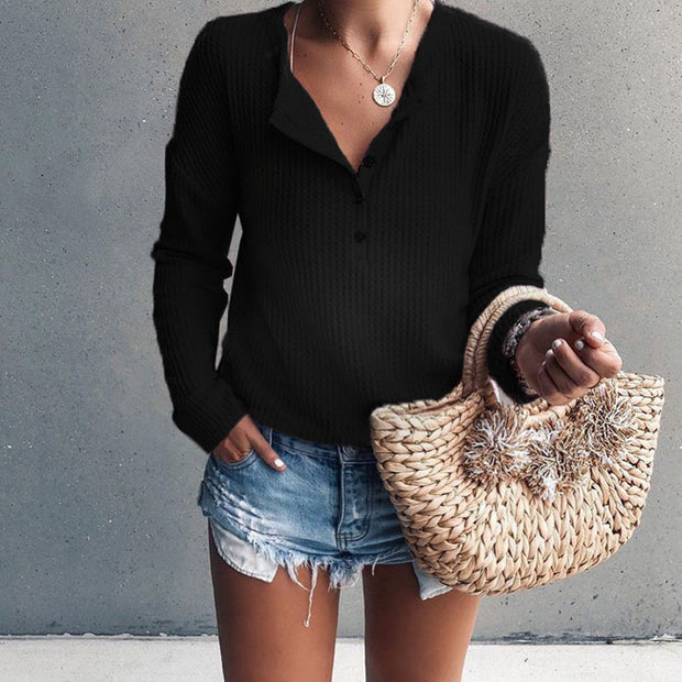 Maternity Fashion Button V-Neck Long-Sleeved Blouse