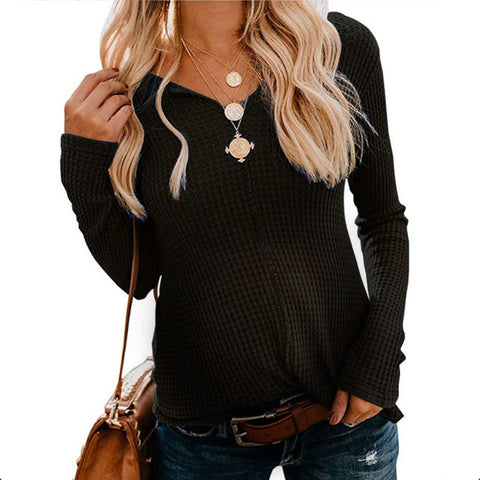 Maternity Knitted V-Neck Solid Color Long-Sleeved Top