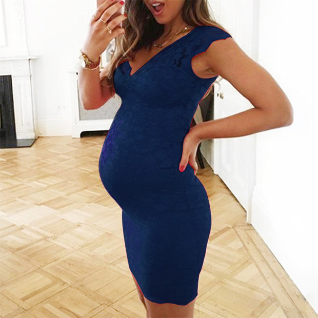 Maternity V-Neck Lace Sleeveless Bodycon Dress