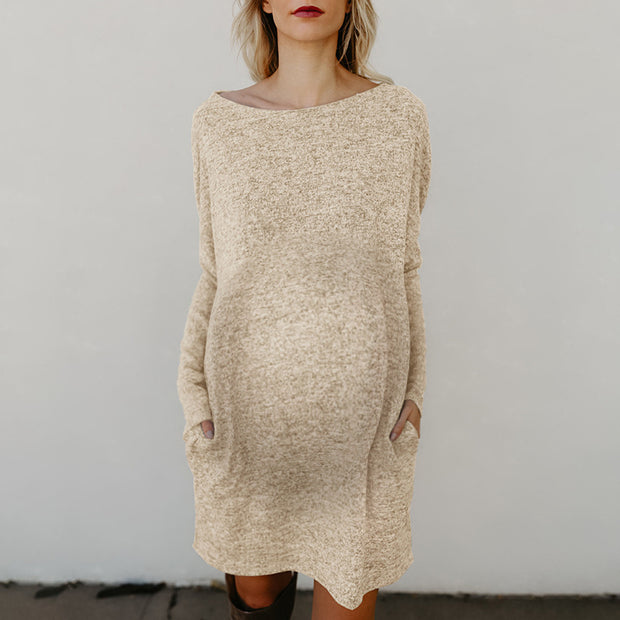 Maternity Casual Brief Solid Color Loose Pocket Knit Dress
