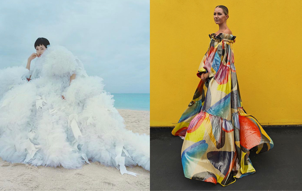 Mika wears Tomo Koizumi Spring 2020 blueish white ruffle dress in Vogue Japan June 2020 at the beach, blogger Blair Eadie wearing Torlowei oversize voluminous dress off the shoulder big abstract print yellow background dark grey floor