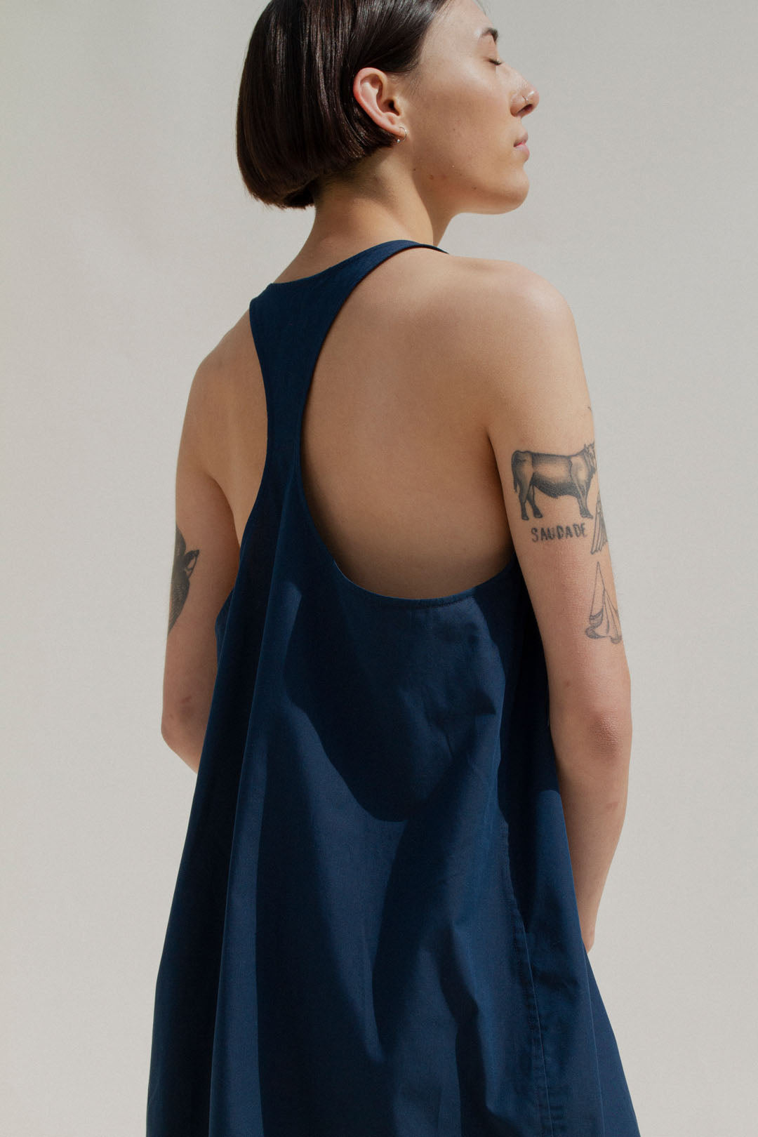 Mica Nightdress in Navy (MADE TO ORDER)