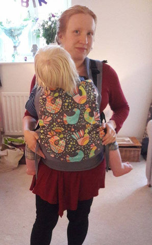 Pouchlings Toddler Structured Buckle Carrier- Smoke and Exotic Birds