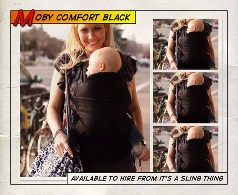 Moby Comfort Baby Carrier in Black. It's a Sling Thing - the babywearing experts. The best baby slings, wraps and carriers available to buy online.