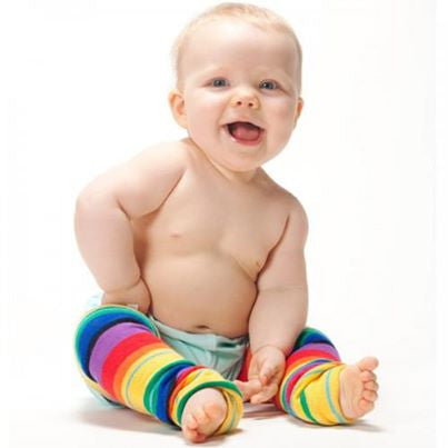 Huggalugs Leg Warmers in Retro Rainbow for babies, toddlers, preschoolers. It's a Sling Thing - the babywearing experts. The best baby slings, wraps and carriers available to buy online.