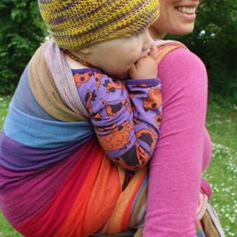 Girasol Size 6 Woven Wrap in Earthy Rainbow - organic bamboo fabric. It's a Sling Thing - the babywearing experts. The best baby slings, wraps and carriers available to buy online.