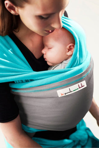 Je Porte Mon Bebe (JPMBB) Original Stretchy Wrap, Turquoise and Light Grey