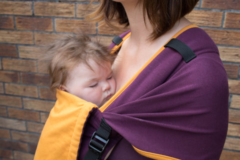 Mamaruga Zensling Stretchy Buckle Carrier (Purple and Yellow)