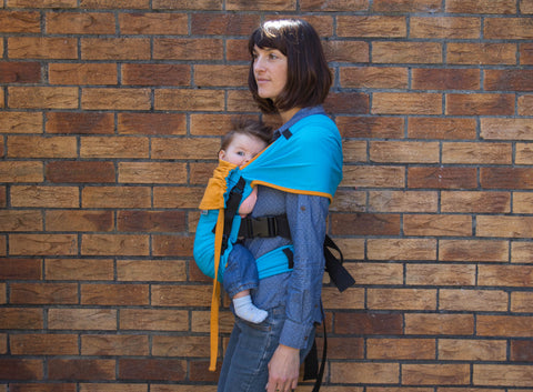 Mamaruga Zensling Stretchy Buckle Carrier (Teal and Yellow)