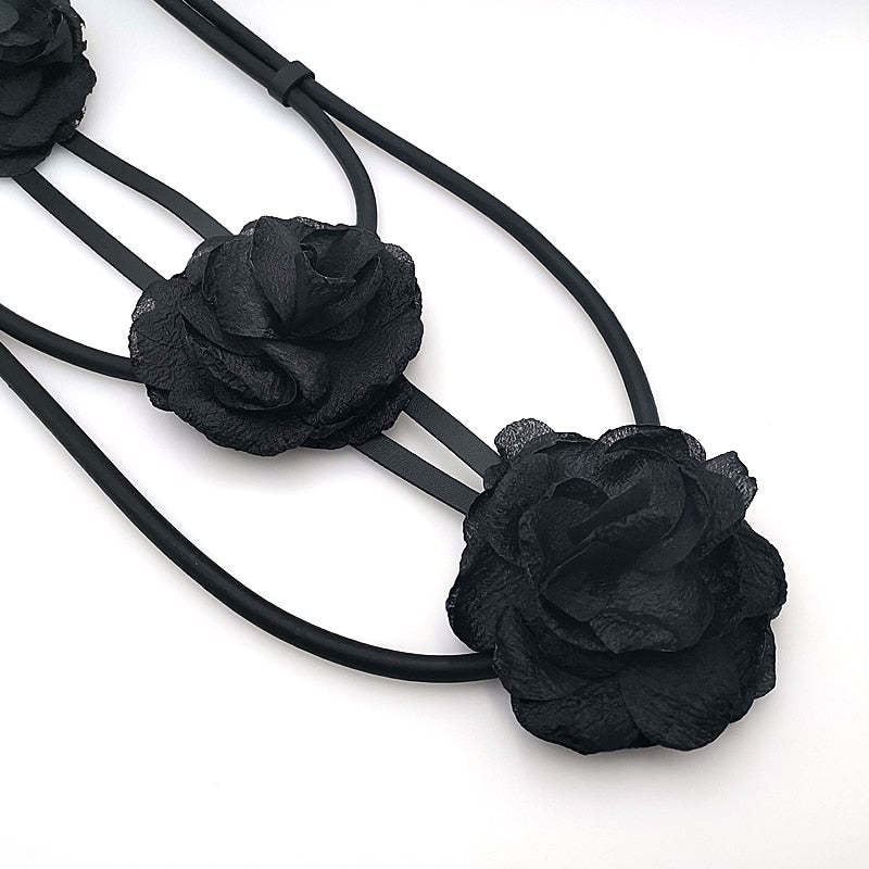 Designer Black Flower Necklace