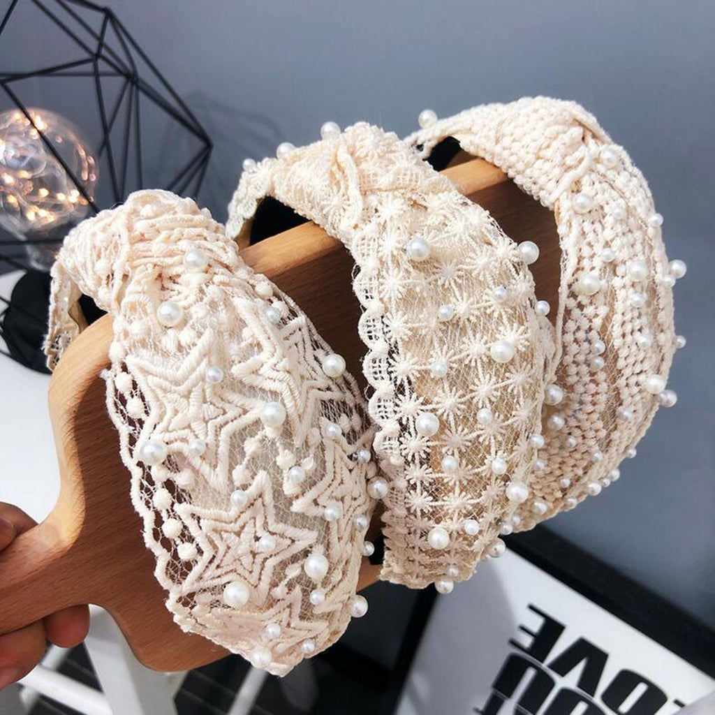 Pearl White Lace Hairband