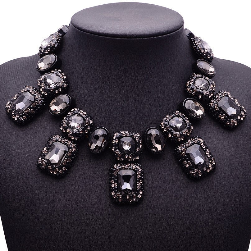 Large Gem Crystal Collar Necklaces and Earrings