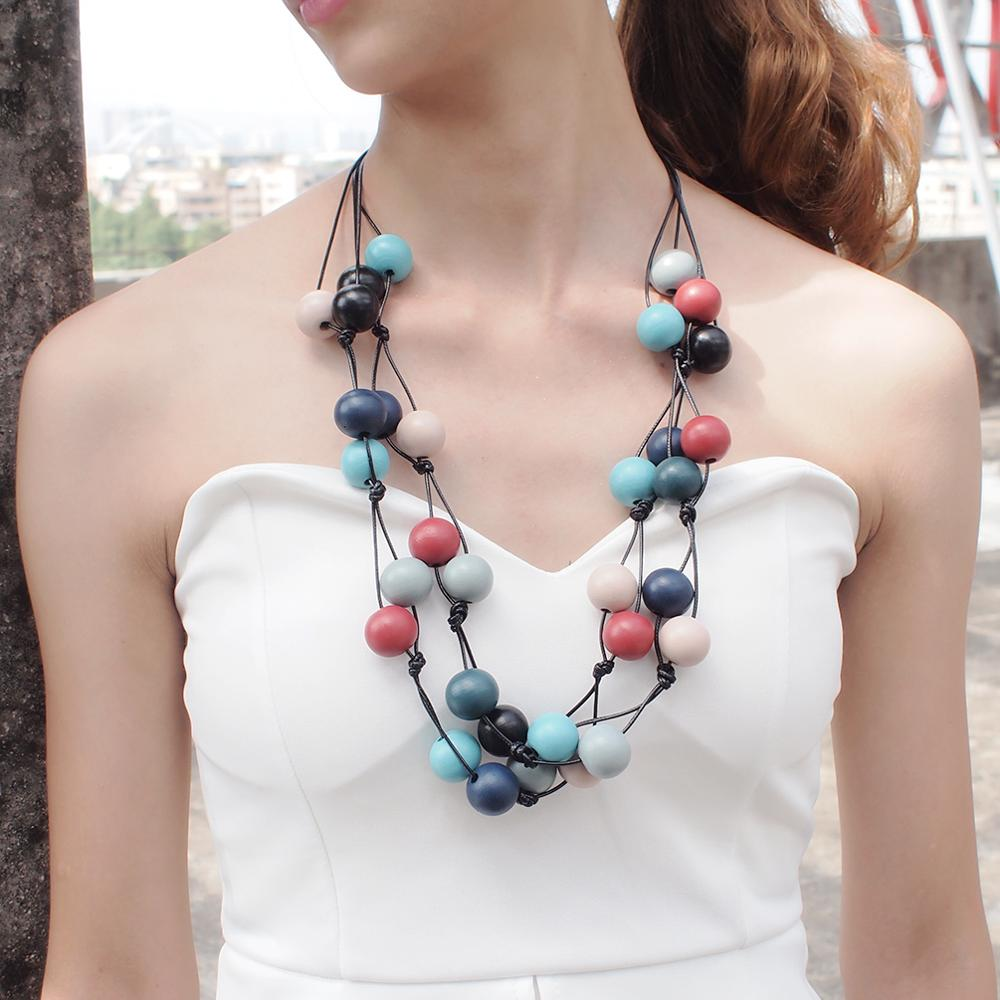 Wood Multi-Color Multi-layers Statement Necklace
