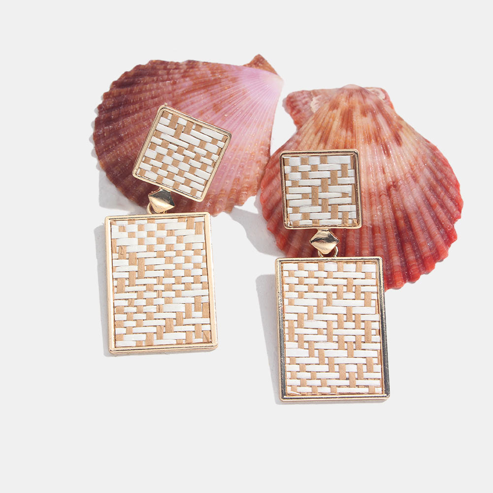 Handmade Yellow Rectangular Wooden Rattan Knit Earrings