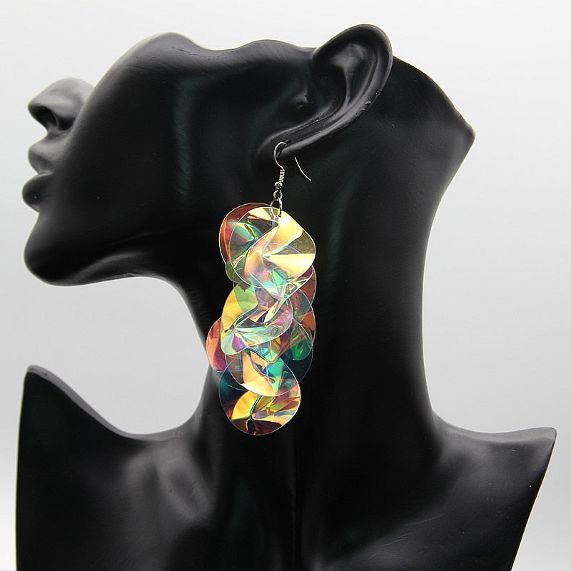 Colorful Sequin Flower Drop Earrings