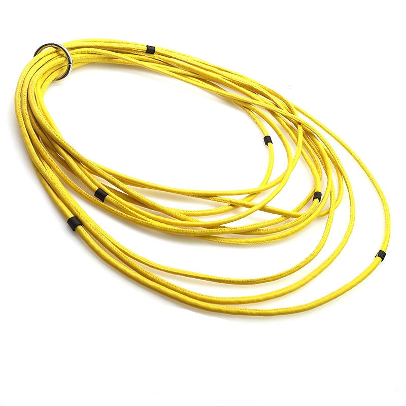 Long Yellow Black Leather Necklace