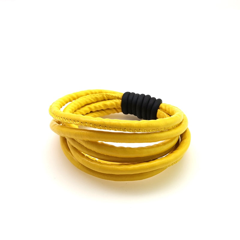 Stylish Yellow Black Leather Bracelet