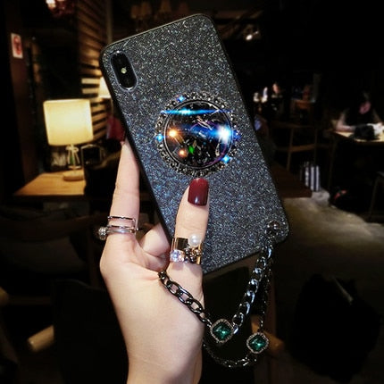 Glitter Diamond Finger Ring Holder Phone Case- iPhone