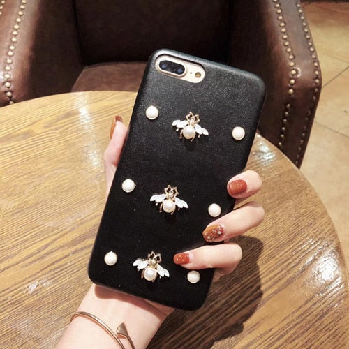 Leather Pearl Bee Phone Cases- iPhone