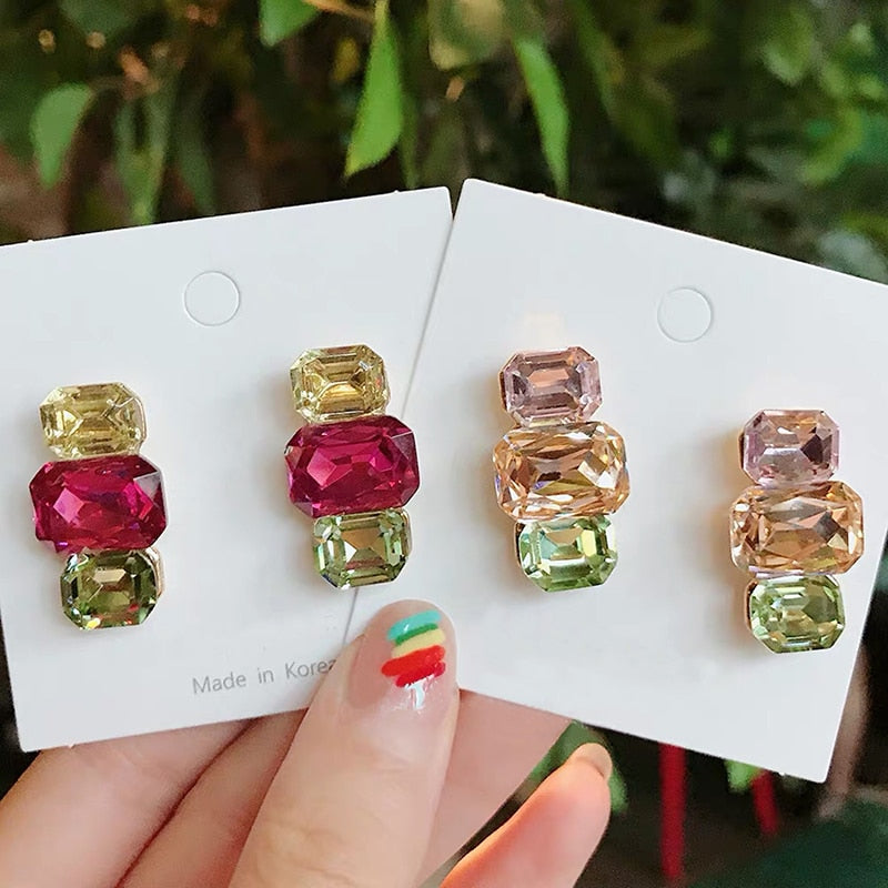 3 Colorful Square Crystal Stud Earrings