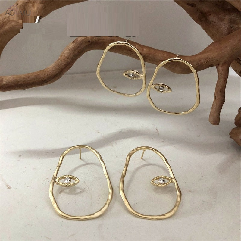Head Eyes Rhinestones Irregular Geometric Stud Earrings
