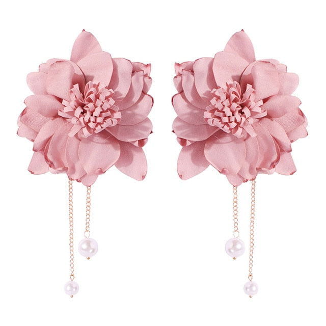 Exaggerated Fabric Big Colorful Flowers Earrings