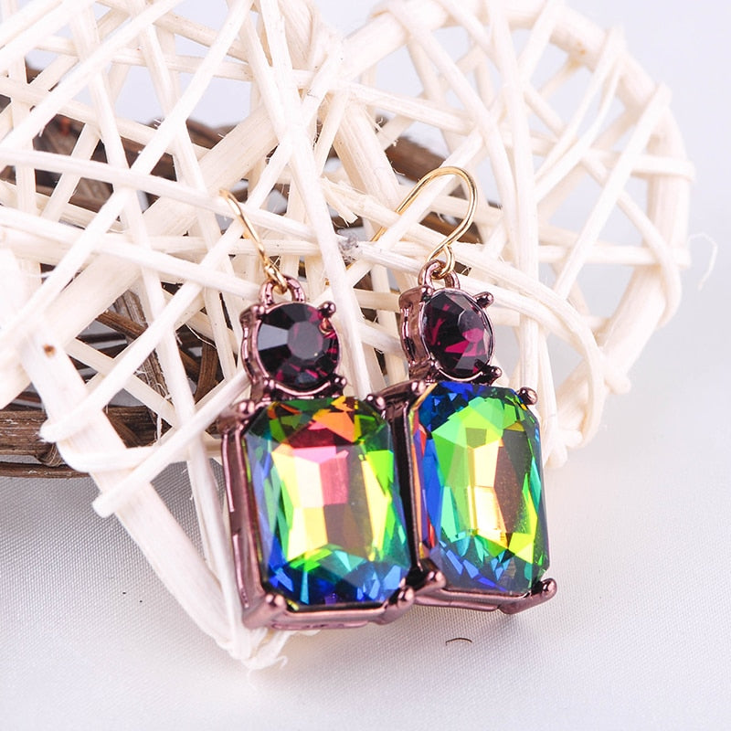 Exquisite Transparent Colorful Glass Drop Earrings