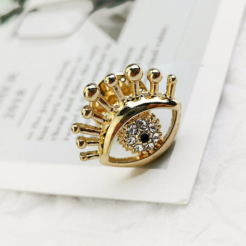 Crystal Gold Color Eye Brooch