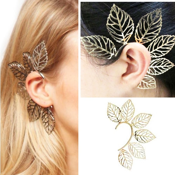 Gold Metal Big Leaves Earring Elf Ear Cuff