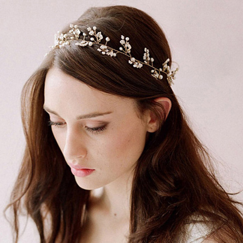 Pearl Crystal Tiara Crown Headband