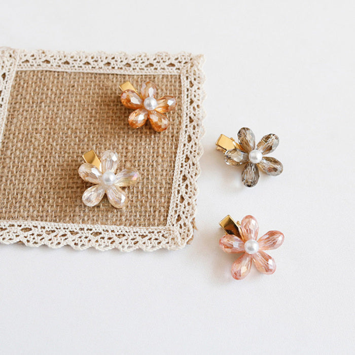 Sweet Sparkling Crystal Flower Hair Clip