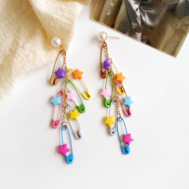 Multi Colour Star Pin Tassels Drop Earring