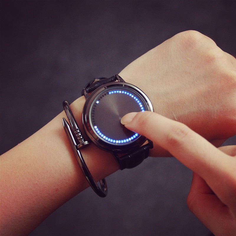 Cool LED Touch Screen Steel Shell Wristwatch