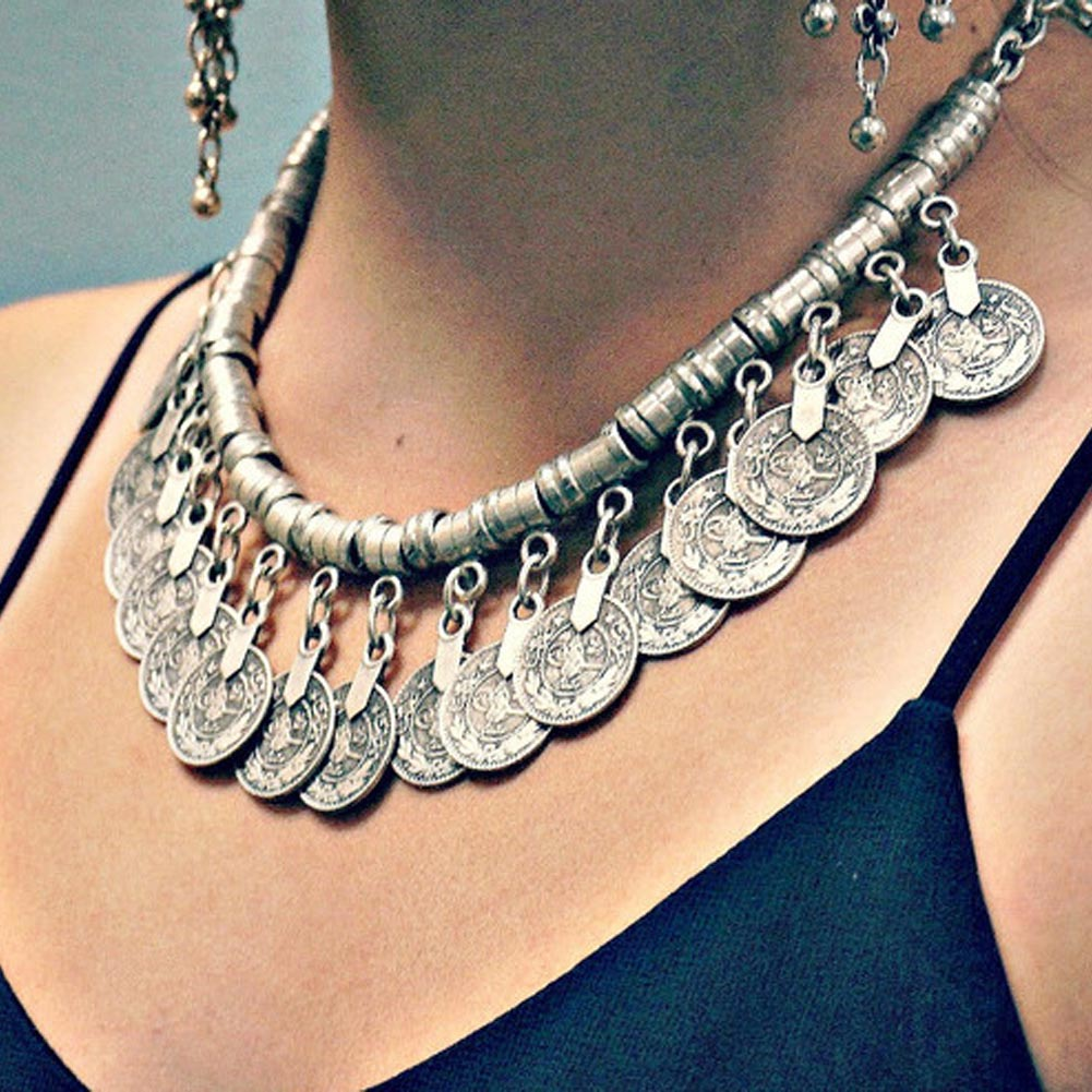 Silver Color Ethnic Statement Bib Pendant Collar Necklace