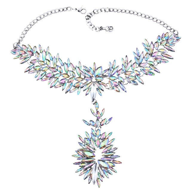 Large Multicolored Crystal Pendant Necklace
