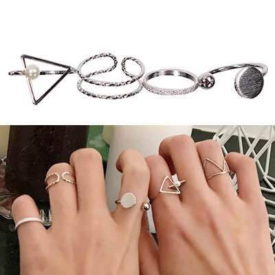 4 Piece Twist Triangle Circle Rings