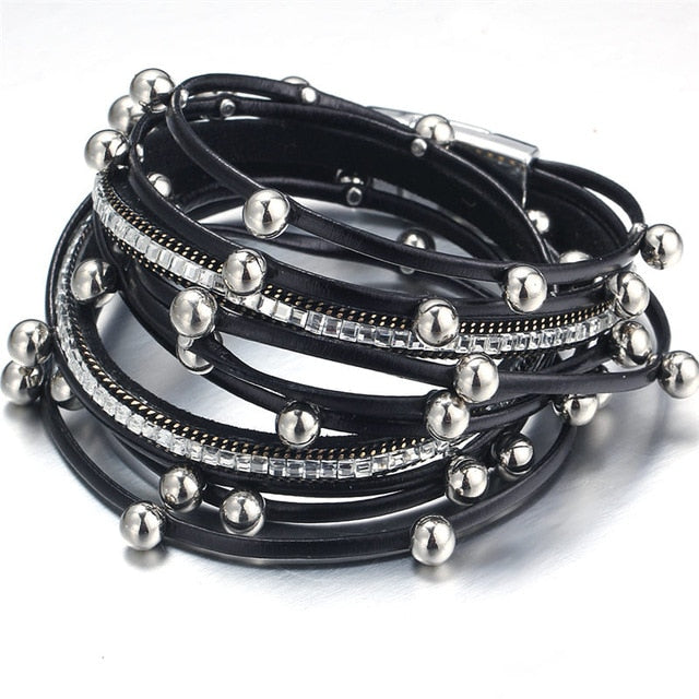 Multiple Layers Leather Charm Bracelet