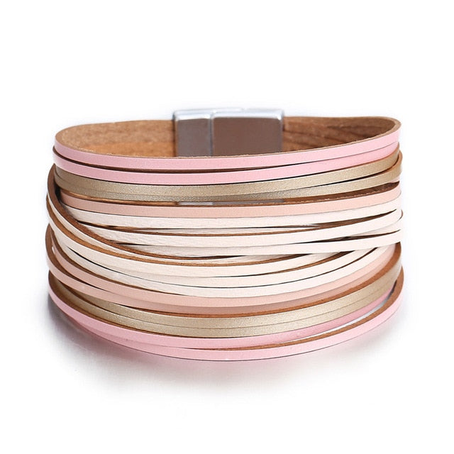 Color Fashion Leather Wrap Bracelet