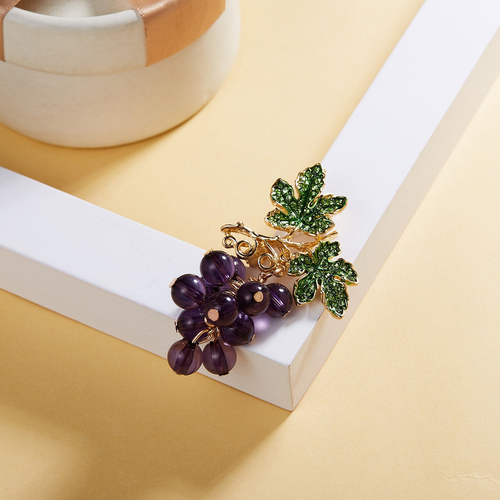 Crystal Purple Grape Brooches