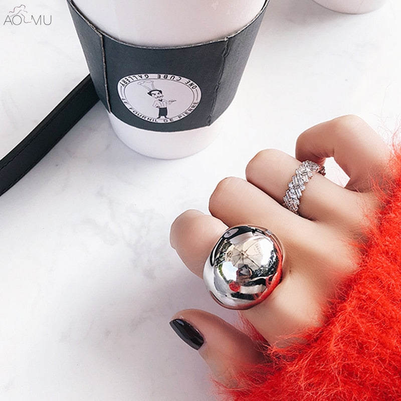 Silver Metal Ball Geometric Round Finger Ring