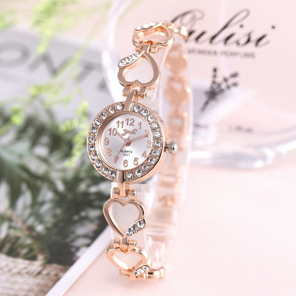 Rose Gold Heart Crystal Wrist Watch