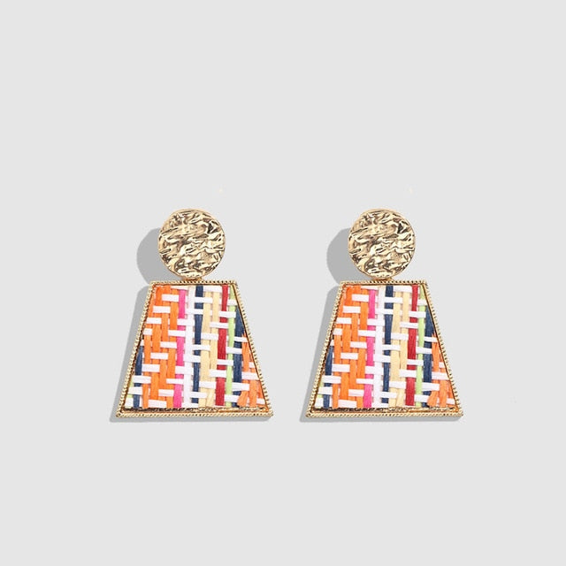 Handmade Colorful Wooden Rattan Knit Earrings