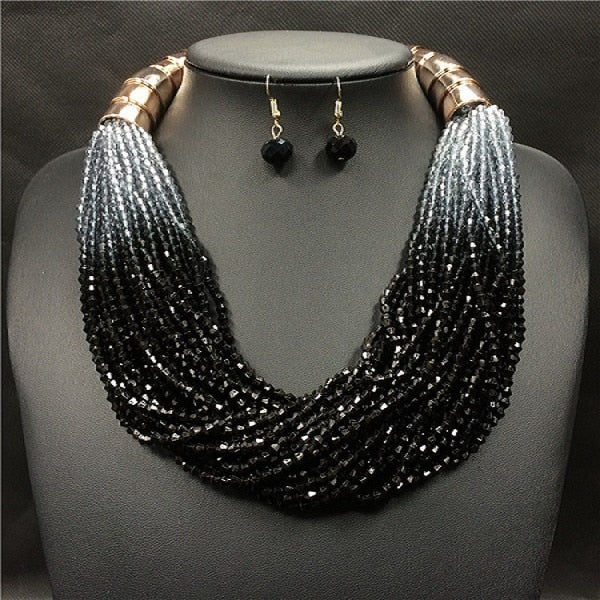 Acrylic Beads Gradient Necklace Earrings Set